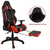 Kinsal Ergonomic High-back Large Size Gaming Chair, Office Desk Chair Swivel Red PC Gaming Chair with Extra Soft Headrest, Lumbar Support and Retractible Footrest (Red)