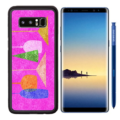 Luxlady Premium Samsung Galaxy Note8 Aluminum Backplate Bumper Snap Case IMAGE ID: 23868975 Assorted stylized glasses for martini wine brandy etc on hot pink (Assorted Brandy)