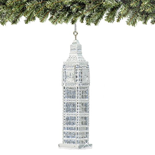 City-Souvenirs Silver London Big Ben Christmas Ornament 5 Inches
