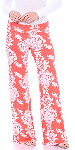 - Popana Damask Palazzo Pants - Made In USA coral small