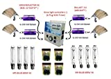SPL Horticulture 600 Watt Grow Light Digital Dimmable HPS MH System for Plants Gull Wing Reflector 4 Set and Grow Light Controller with Timer 240 Volt System