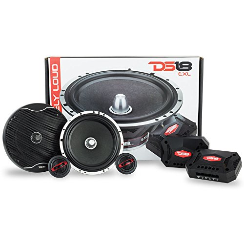 DS18 EXL-SQ6.5C 6.5 Inch 2-Way Packaged Component Car Audio Sound Quality Speaker System with 2 X 6.5-Inch MID Bass Woofers, 2 X Tetoron Dome Neo Tweeters, and 2 X Passive Crossovers