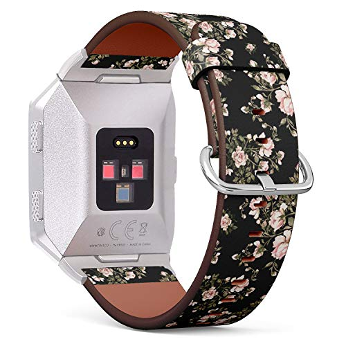 Compatible with Fitbit Ionic Leather Watch Wrist Band Strap Bracelet with Stainless Steel Clasp and Adapters (Watercolor Bouquet Roses)