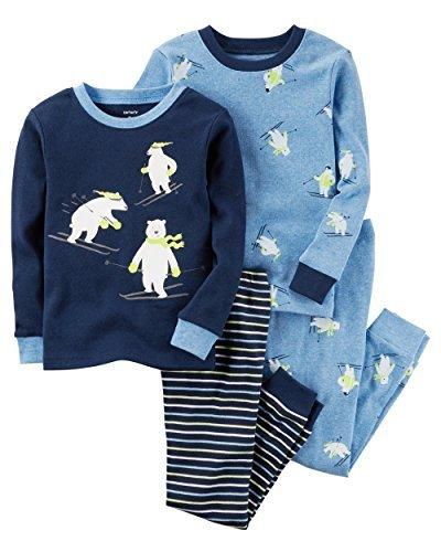 Carters Boys 12 Months-8 4 Piece Dog and Bear Face Pajama Set (12 Months, Blue...