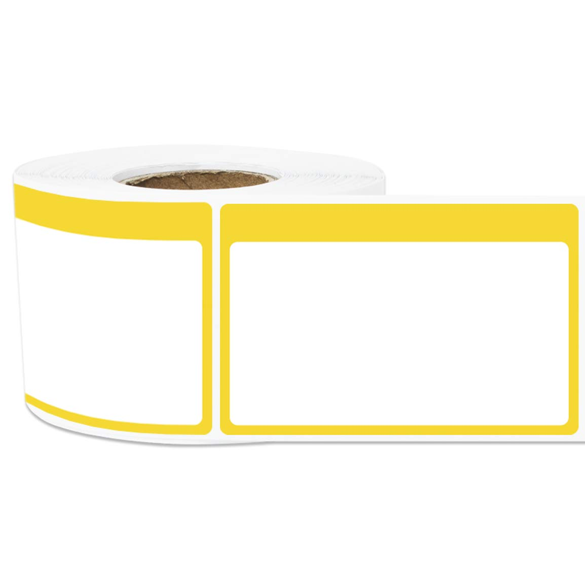 1 Roll - Plain Writable Name Tag Labels with Colorful Border for Visitor  Badges 3 5
