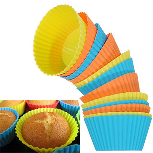 24pcs Random Color Cupcake Mold Baking Cups Baking Supplies Soft Round Silicone Cake Muffin Chocolate Cupcake Liner Baking Cup Mold Cup Mold Non-stick