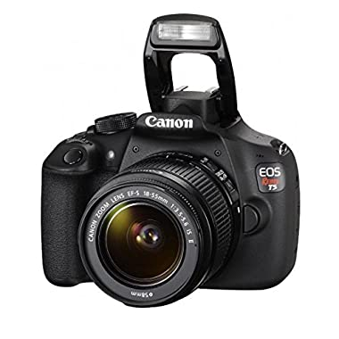 Canon EOS Rebel T5 DSLR Camera with EF-S 18-55mm IS II Lens + Focus Telephoto and Wide Angle Lens + 32GB Memory Card + Extra Battery Pack + Deluxe Accessory Kit