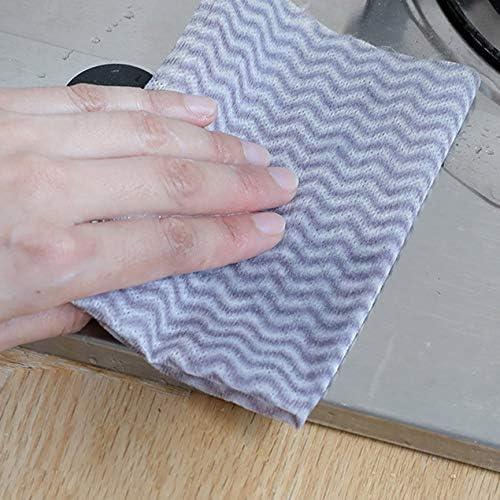 使い捨て布使い捨て布食器洗いタオルキッチンノンスティック吸油吸水クリーニングタオル-ホワイト