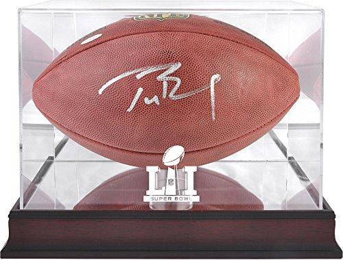 Brady Autographed Football - Tom Brady New England Patriots Autographed Duke Football with Mahogany Base Super Bowl LI Football Display Case - TRISTAR - Fanatics Authentic Certified