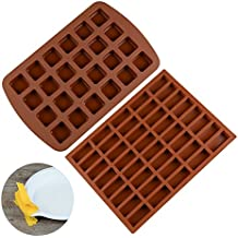 FUNBAKY Silicone Brownie Baking Molds Pan - Small Cake Molds Square and Rectangular Silicone Molds Set of 2
