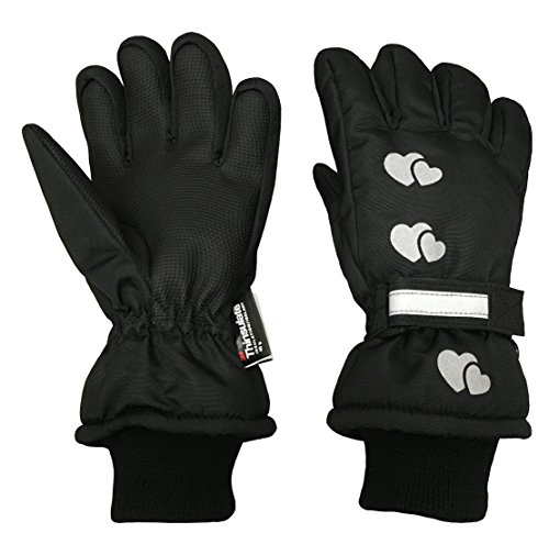 N'Ice Caps Little Girls Reflector Cute Hearts Waterproof Thinsulate Gloves (5-6 Years, Black)