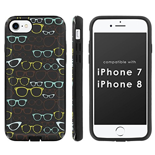 [Mobiflare] Slim Dual Layer Phone Case FITS i-Phone [7] [7S] [8] [Black/Black] Slim Dual Shock Phone Cover - [Eye - To Your To Face How Eyeglasses Fit