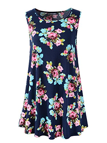 Veranee Women's Sleeveless Swing Tunic Summer Floral Flare Tank Top (X-Large, 6-7) (Best Tops To Go With Leggings)