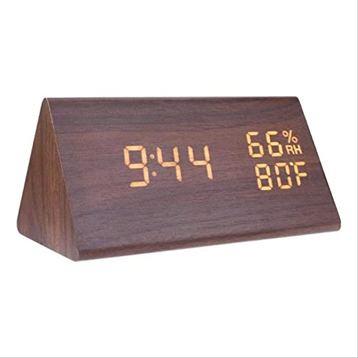 GWRA Reloj electrónico Relojes de Alarma LED de Madera Reloj de ...