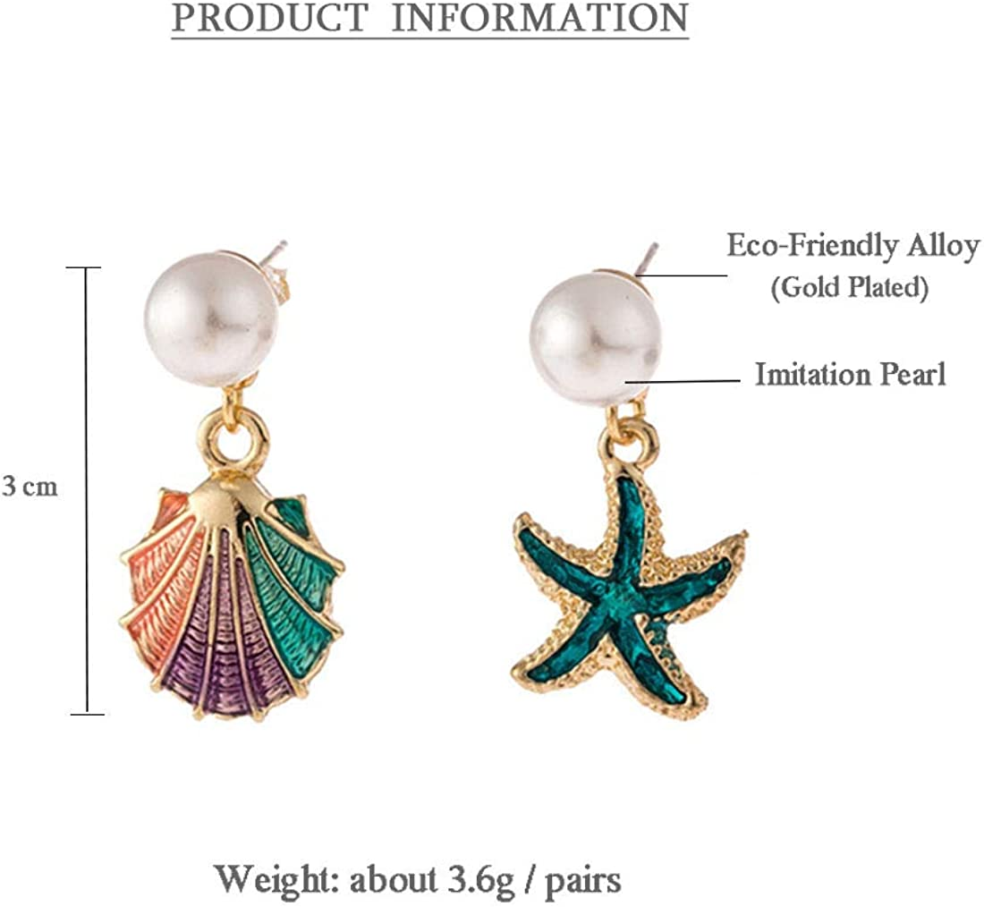 4 Pairs//set Bohemian Irregular Sea Starfish Conch Shell Pearl Drop Earrings