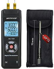 nktech nk-tk0Digital termómetro termopar 2Vías de doble canal K Tipo LCD retroiluminación temperatura -50–1350℃/℉/K 2sensor Sonda de lectura esquina T1/T2Medidor Negro