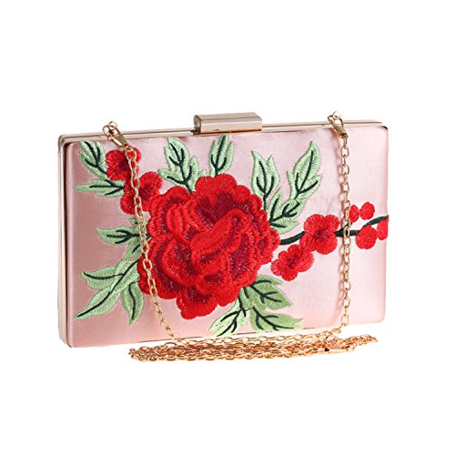 Black Bag Wallets Rose Evening Flash Embroidery bag Clutch Banquet Dress qCRO6zwx