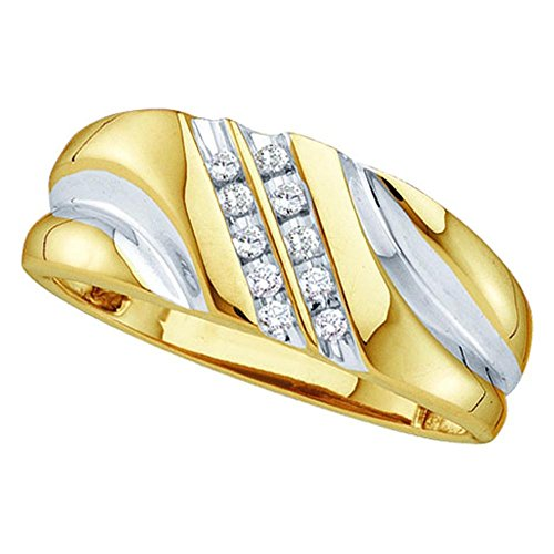 10k Yellow Gold Round Natural Diamond Mens 2-row Channel-set 2-tone Wedding Band Ring (.10 cttw.) (I2-I3) - 0.10 Cttw Natural