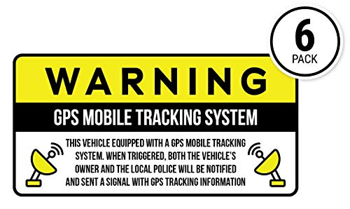 Anti-Theft Car Vehicle Stickers with GPS Tracking Warning (Pack of 6 Decals) - Vehicle Decal