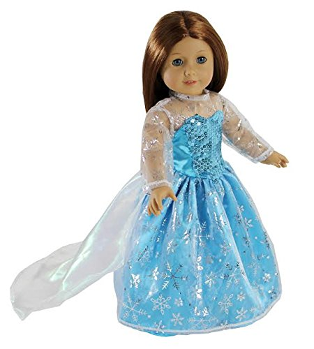 Dress Along Dolly Elsa Inspired Princess Doll Clothes for American Girl Dolls: Stunning Snowflake Sparkle -