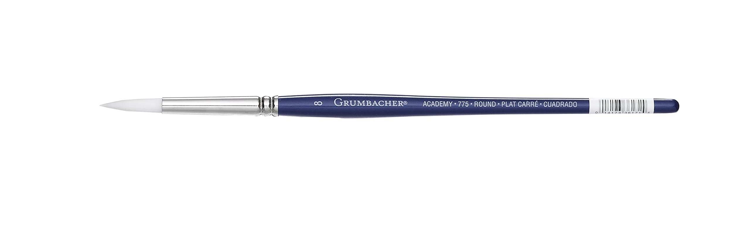 Grumbacher Academy Watercolor Round Brush, White Nylon Bristles, Size 8 (775.8)