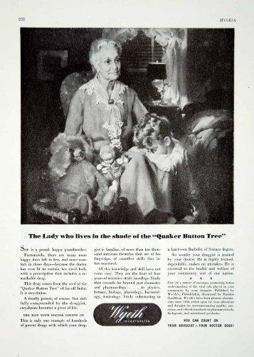 1944-ad-grandma-woman-child-stuff-animals-pharmaceutical-drug-medicine-wyeth-co-original-print-ad