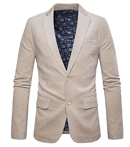 OULIU Mens Vintage Two Button Slim Fit Corduroy Blazer Jacket Coat Beige XS