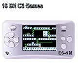 "Kids Handheld Game Console Retro Video Game Player Portable Arcade Gaming System Birthday Gift for Children Travel Recreation 2.5"" Color LCD Screen 16 Bit 168 Classic Games(White Silver)"