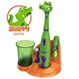 Brusheez Children's Electronic Toothbrush Set – Includes Battery-Powered Toothbrush, 2 Brush Heads, Cute Animal Head Cover, 2-Minute Sand Timer, Rinse Cup, and Storage Base - Snappy the Croc
