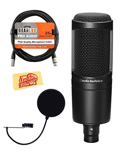Technica Audio Studio At2020 Condenser (Audio-Technica AT2020 Cardioid Condenser Microphone Bundle with Pop Filter, XLR Cable, and Austin Bazaar Polishing Cloth)