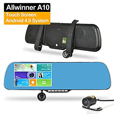 "E-PRANCE Android Dual Lens GPS Car Rear View Mirror Backup Camera HD 1080P with GPS Logger and Navigation + 5"" Touch Screen + Allwinner A10 Chip + Built-in 8GB Memory"