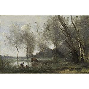 Oil Painting 'Jean-Baptiste-Camille Corot - The Pond, C. 1868-70', 16 x 24 inch / 41 x 62 cm , on High Definition HD canvas prints is for Gifts And Bar, Game Room And Gym Decoration, fast