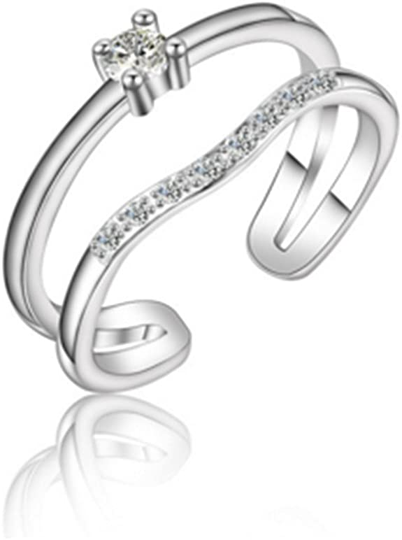 Wunhope Ringe Damen Frauen 925 Sterling Diamant Doppel