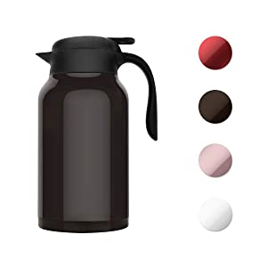 SDREAM 68 Oz Coffee Carafe Thermal For Kettle Stainless Steel Double Walled Thermal Pots Hot Cold Beverage or Tea, Dark Coffee, 68oz