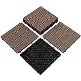 "PANDAHOME 6 PCS Wood Plastic Composites Patio Deck Tiles, 12""x12"" Interlocking Decking Tiles, Water Resistant for Indoor & Ou"