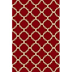 Maxy Home Hamam Moraccan Trellis Red 1 ft. 6 in. x 2 ft. 7 in. Rubber Backed Door Mat