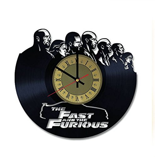 Fast and Furious vinyl wall clock - handmade artwork unique home bedroom living kids room nursery wall decor great gifts idea for birthday, wedding, anniversary - customize your clock (Gold/Black)
