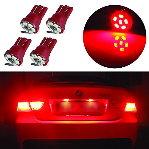 LED Monster 4x Red LED Bulbs 6-SMD Car License Plate Lamp Bulb T10 194 168 W5W (Lincoln Parts 1997 Continental)