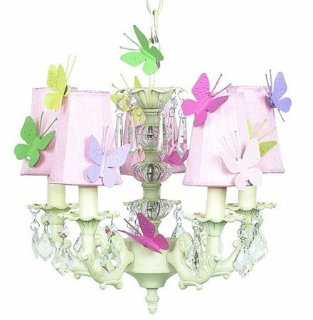 - Jubilee Collection 7030-6504-MG- Butterfly 5 Arm Stacked Glass Ball Ivory Chandelier with Plain Pink Sconce Shade and Magnets