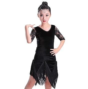 YZLL Trajes de Baile Latino para niños, Falda de Borla ...