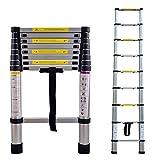 LARS360 2.6M Telescopic Ladder Aluminium Telescoping Ladder Extension Extend Portable Ladder Foldable Ladder Multi-Purpose Function
