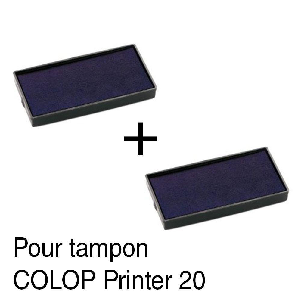2 Cassette dencre recharge pour tampon COLOP Printer 20 38x14mm Bleu