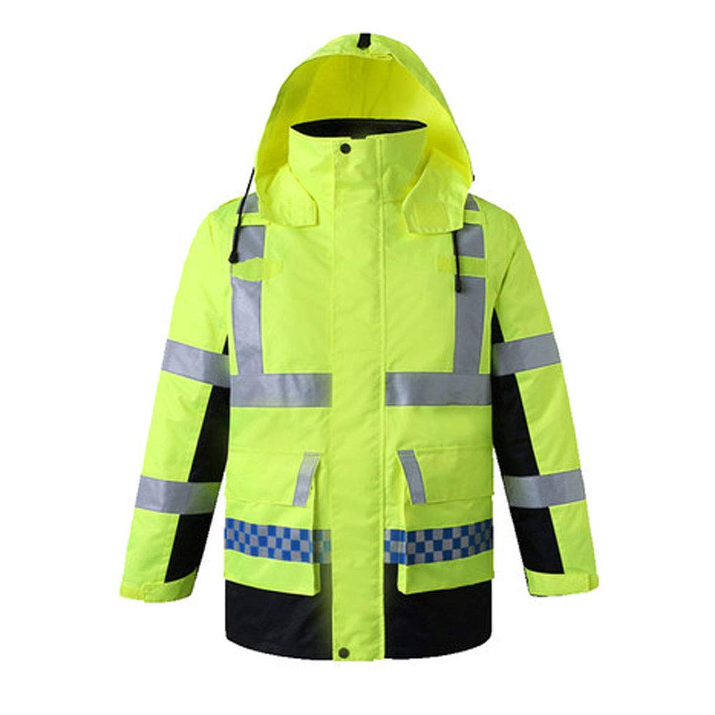梁友 安全ジャケット 反射ベスト - メンズ厚手の暖かい反射コート取り外し可能なインナー多目的コットンスーツ反射コート付きコールドコート (色 : 緑, サイズ さいず : L l) 緑 B07RTMB7W6
