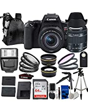 """Canon EOS Rebel SL3 DSLR Camera w/EF-S 18-55mm f/4-5.6 is STM Lens with Deluxe Accessory Bundle - Includes: SanDisk Ultra 64GB SD, 50"""" Tripod, Wireless Remote, 3PC HD Filter Kit (UV, CPL, FLD) & More"""