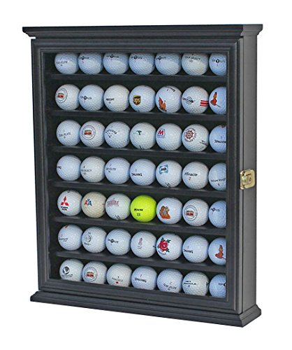 - 49 Golf Ball Display Case Cabinet Wall Rack Holder w/Lockable (Black)