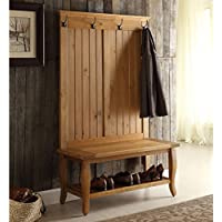 Wood Hall Tree Bench With 4 Hooks And Lower Shelf Shoe Rack, Storage Solution, Traditional Style, Space Saving, Practical, Suitable For Entryway, Hallway, Pine Finish + Expert Guide