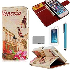 ZMY Floral Venezia Pattern PU Leather Full Body Case with Film. Stand and Stylus for iPhone 5/5S