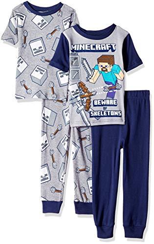 Minecraft Boys' Big 4-Piece Cotton Pajama Set, Navy for Bravery, 8