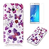 For Samsung Galaxy A5 2017 A520 Case with Pattern Purple Butterfly,OYIME Glitter Bling Design Ultra Thin Slim Fit Protective Back Cover Soft Silicone Rubber Shell Drop Protection Anti-Scratch Transparent Bumper and Screen Protector