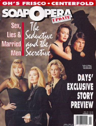Melody Thomas Scott, Nina Arvesen, Brenda Epperson, Bold and the Beautiful, Jack Wagner Centerfold Poster - February 25, 1991 Soap Opera Update Magazine